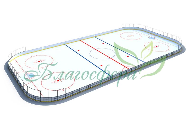 Хоккейная коробка R-7,5м. защитная сетка Н-1500мм за воротами ХОК-1.1