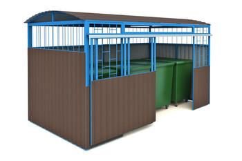 МФ-1.45.5 Навес для мусорных баков с раздвижными дверями (на 4 контейнера)